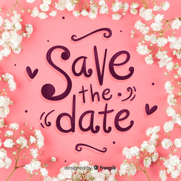 Save the date lettering Free Vector