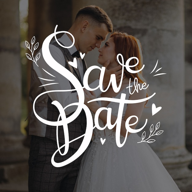 Save the date the newlyweds lettering Free Vector