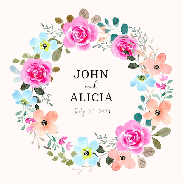 Save the date pink rose floral wreath with watercolor
