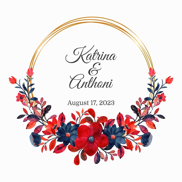 Save the date. red floral watercolor wreath with golden frame Premium Vector