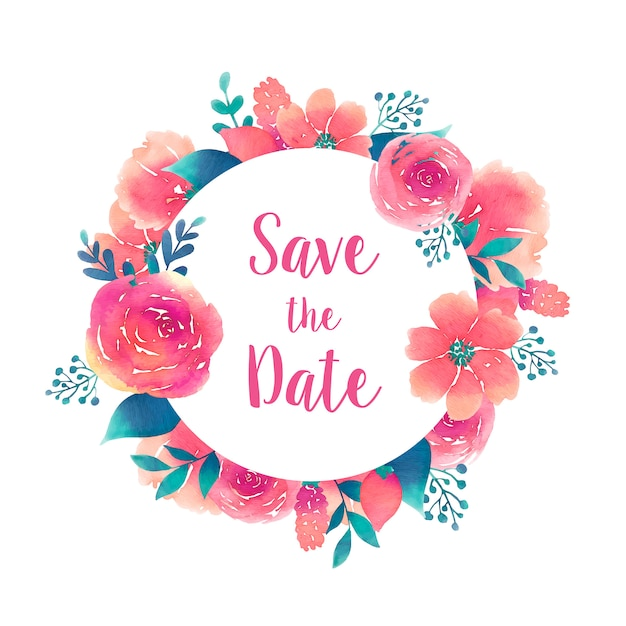 Save the date round frame with watercolor flowers element Free Vector