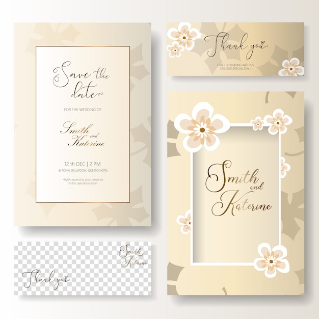 Save the date special day wedding anniversary card with thank you card Premium Vector