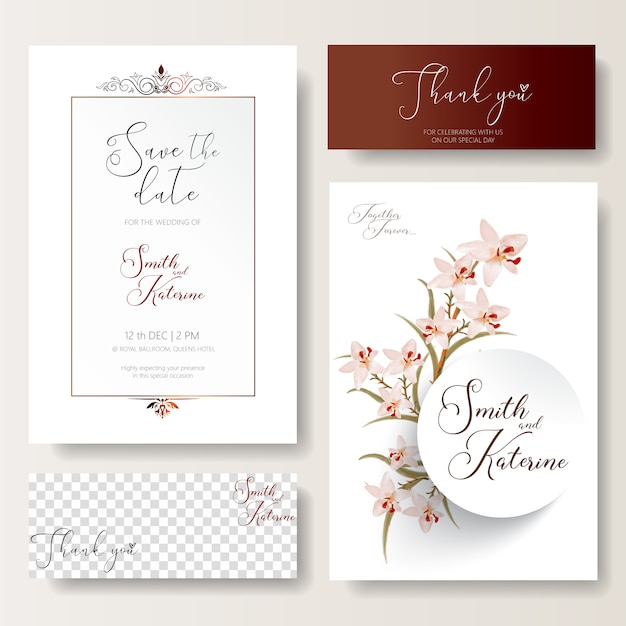 Save the date special wedding card pink orchids pattern texture Premium Vector