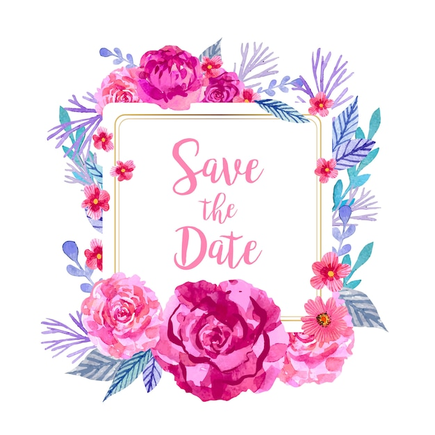 Save the date square frame with watercolor floral decoration Free Vector