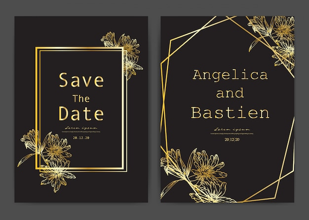 Save the date wedding card, wedding invitation cards with hand drawn botanical. Premium Vector