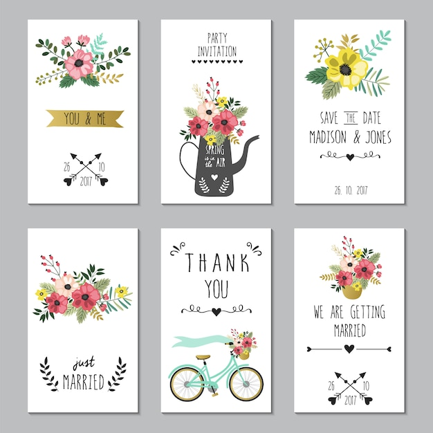 Save the date wedding cards template. Premium Vector
