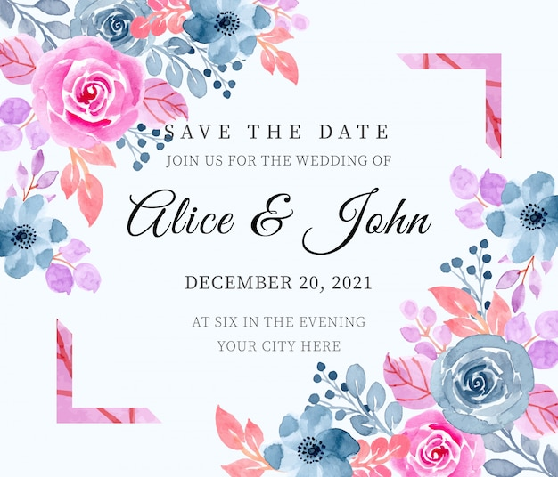 Save the date. wedding invitation card with floral watercolor Premium Vector