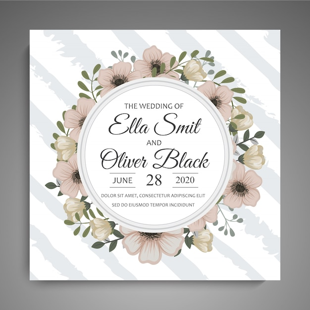 Save the date, wedding invitation card with wreath flower template Free Vector