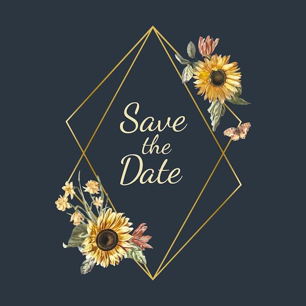 Save the date wedding invitation mockup vector Free Vector