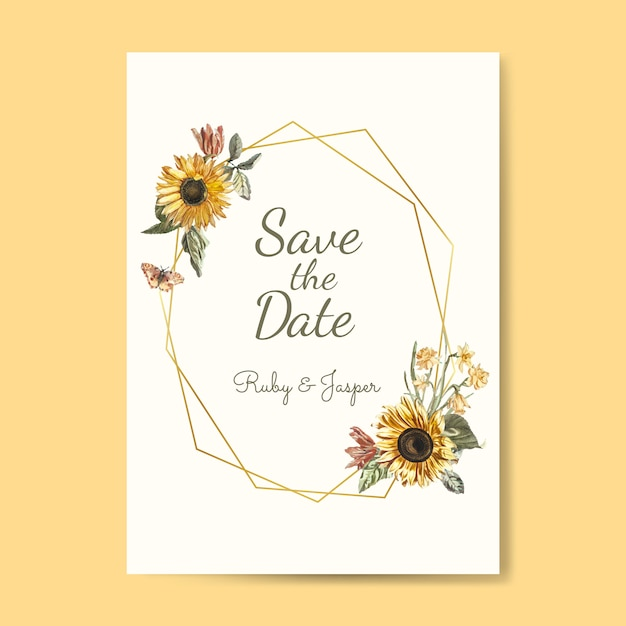 Save the date wedding invitation mockup vector Free Vector