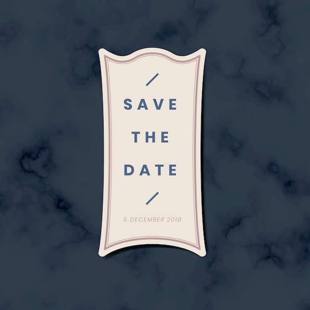 Save the date wedding invitation sticker vector Free Vector
