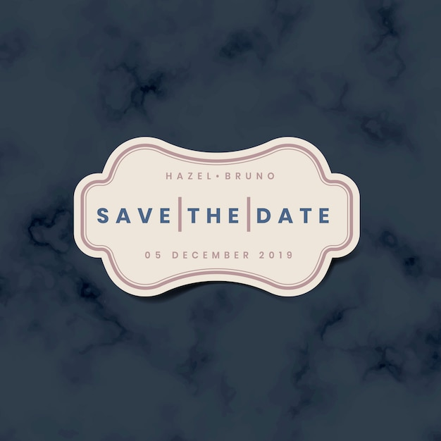 Save the date wedding invitation sticker vector Free Vector