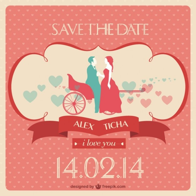 Save The Date Wedding Invitation Vector Free Download