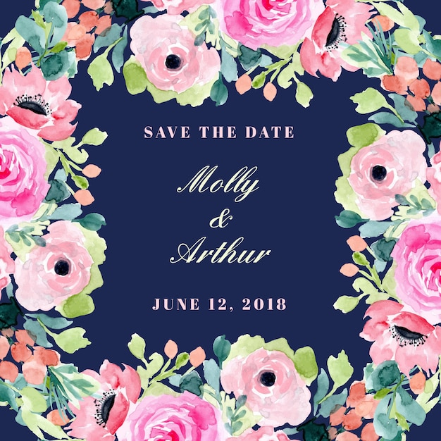 Save the date with beautiful watercolor floral frame Premium Vector
