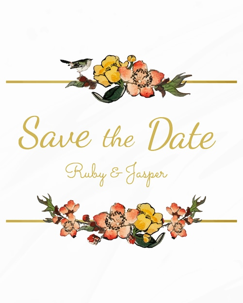 Save the date with floral design vector Free Vector