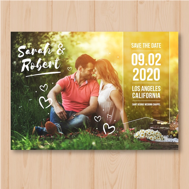 Save the date with image Free Vector