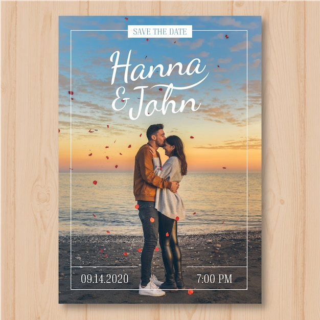 Save the date with pic Free Vector