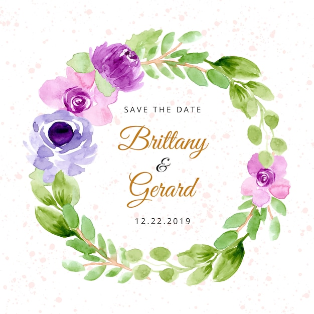 Save the date with purple watercolor floral wreath Premium Vector