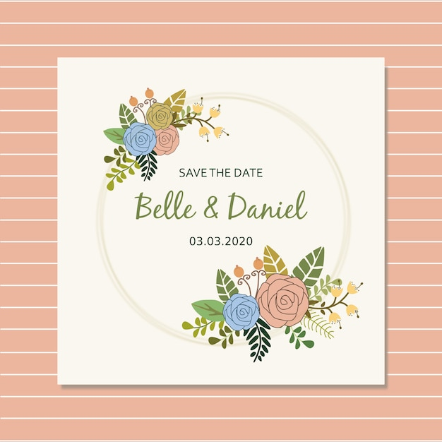 Save the date with simple rose Premium Vector