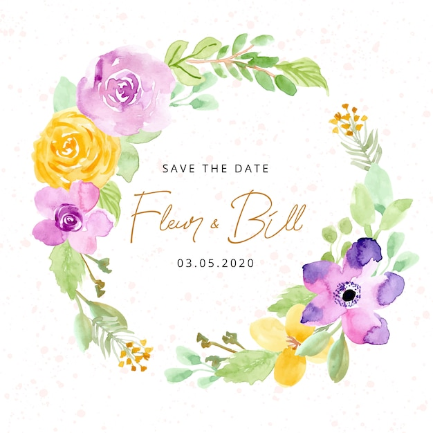 Save the date with watercolor flower wreath Premium Vector
