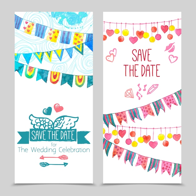 Save the day card set Free Vector
