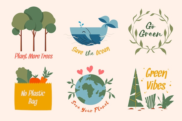 Save the earth ecology badge collection Free Vector