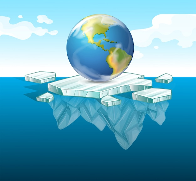Save the earth theme with earth on ice Free Vector
