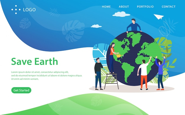 Save earth, website vector illustration Premium Vector
