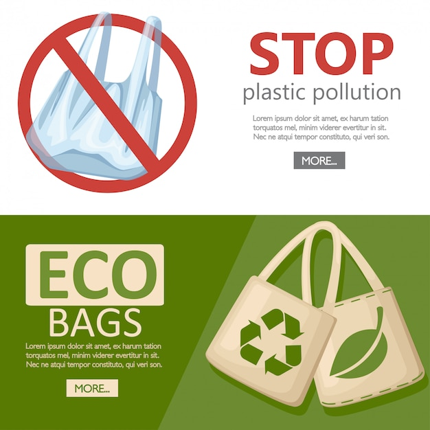 生態学の概念を保存します。布または紙バッグ。リサイクル、緑の葉、ecoシンボルのバッグ。交換用ビニール袋。地球のエコロジーを守ります。白い背景の上の図 Premiumベクター