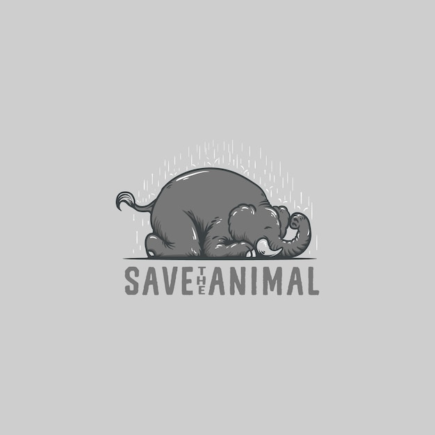Save elephant animal logo illustration Premium Vector