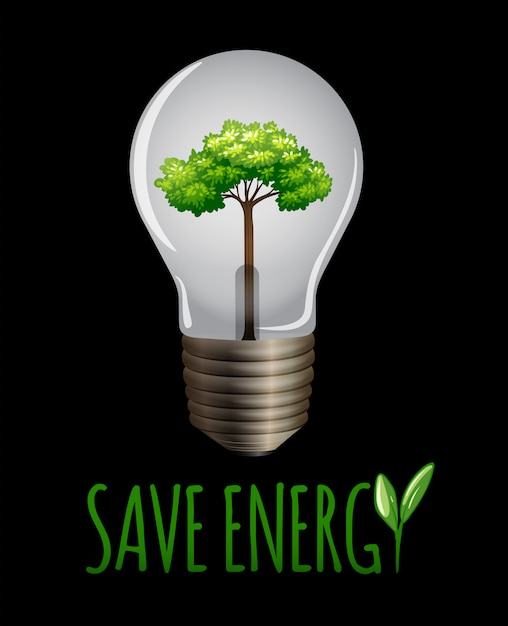Save enegy logo on blackground Free Vector