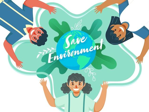 緑の葉の背景に手を上げると地球を漫画の子供たちと環境の概念を保存します。 Premiumベクター