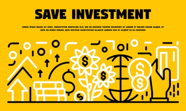 Save investment banner, outline style Premium Vector