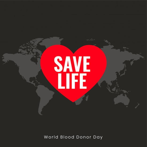 Save life poster for world blood donor day Free Vector