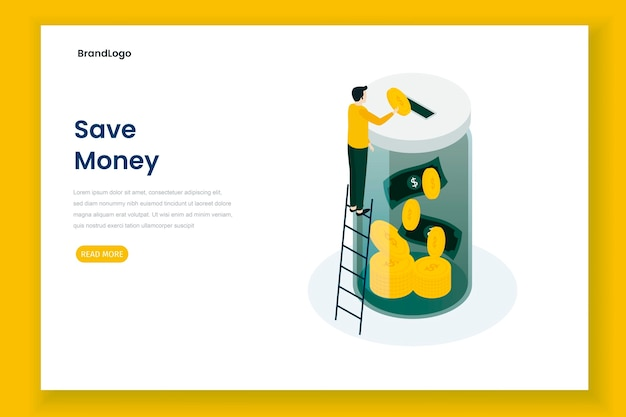 Save money illustration landing page Premium Vector