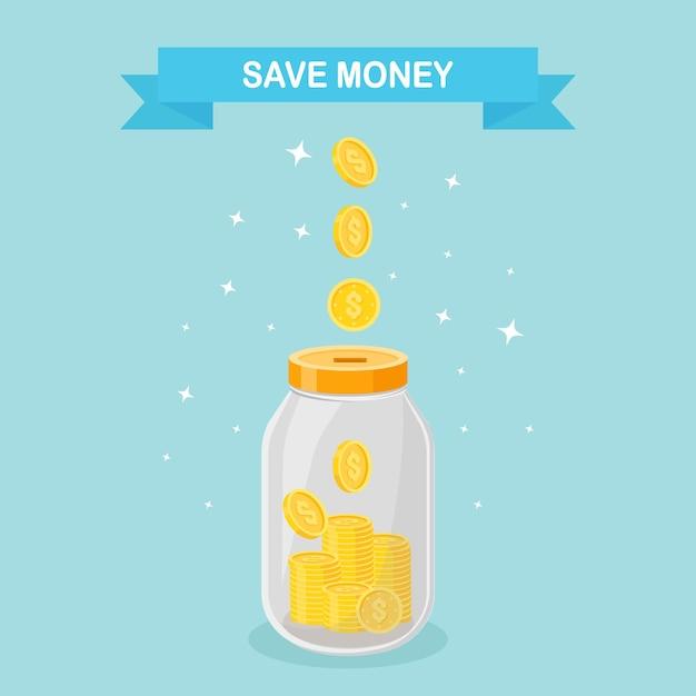 ガラスの瓶にお金を節約します。貯金箱で成長している金貨。預金の節約。退職への投資。富、収入の概念。ボトルに落ちる現金 Premiumベクター