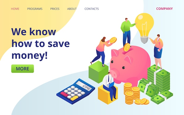 Save money service landing page . golden coins, dollars currency and piggy bank. save money investments company web site. cash deposit. invest income, online fund. Premium Vector