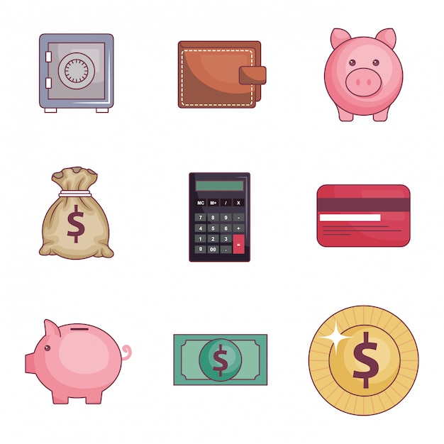 Save money set icons Free Vector
