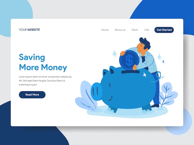 Save money with piggy bank illustration for web pages Premium Vector