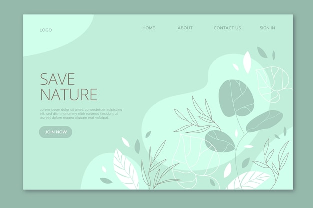 Save nature landing page hand drawn Free Vector