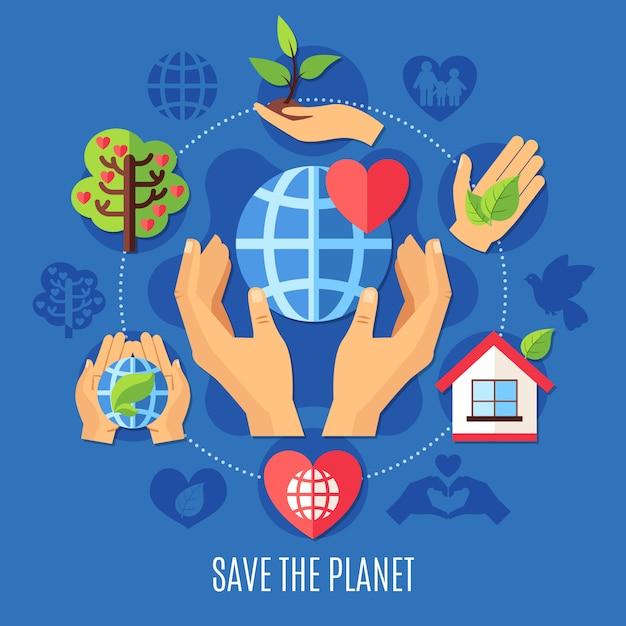 Благотворительная композиция save planet Premium векторы