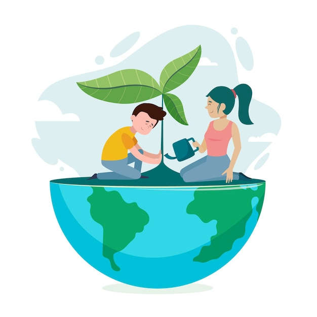 Save the planet concept illustration with man and woman Free Vector