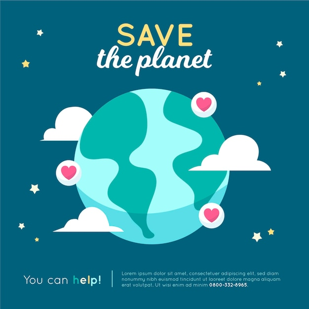 Save the planet concept with earth and hearts Free Vector
