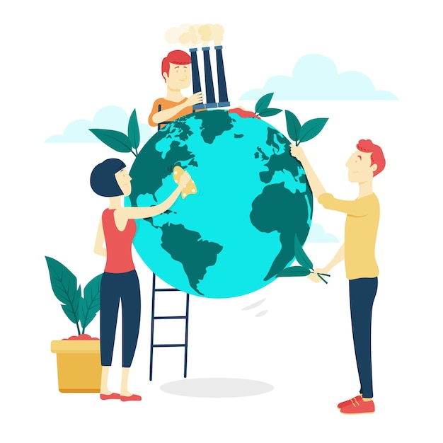 Save the planet concept with people cleaning earth Free Vector