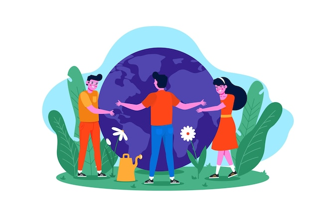 Save the planet concept with people hugging earth Free Vector