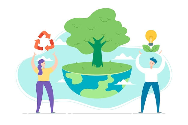 Save the planet concept with people and tree Free Vector