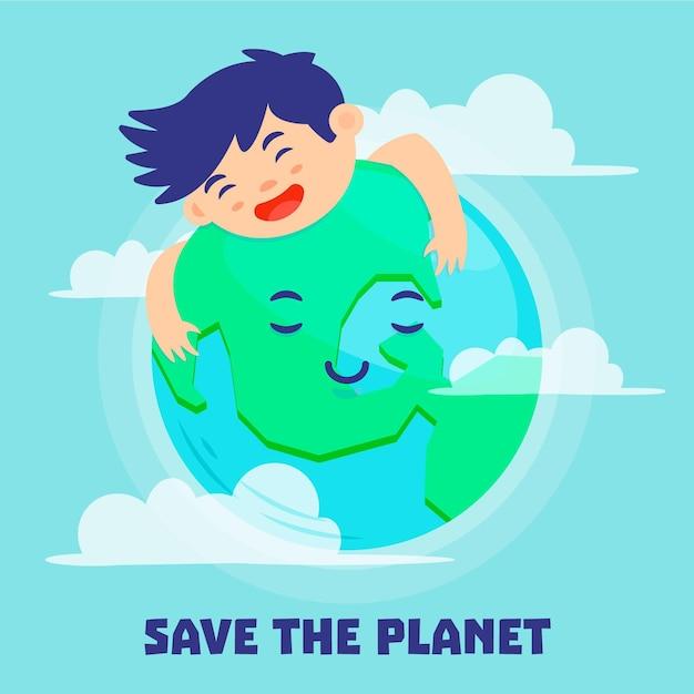 Salva il concetto del pianeta Vettore gratuito