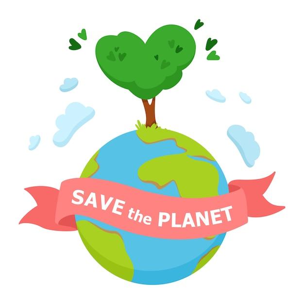 Save the planet concept Premium Vector
