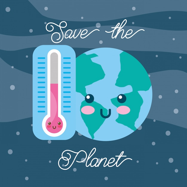 Save the planet kawaii world and thermometer Premium Vector