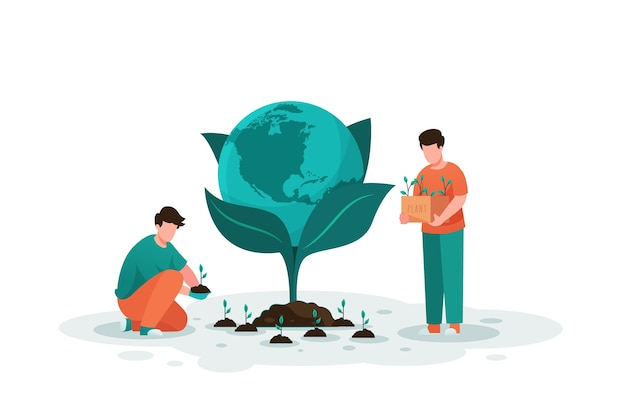 Save the planet people planting the earth Free Vector